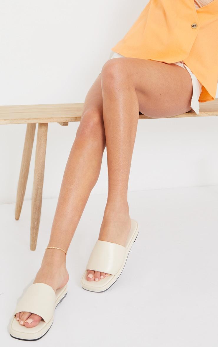 Cream PU Square Toe Mule Flat Sandals 1
