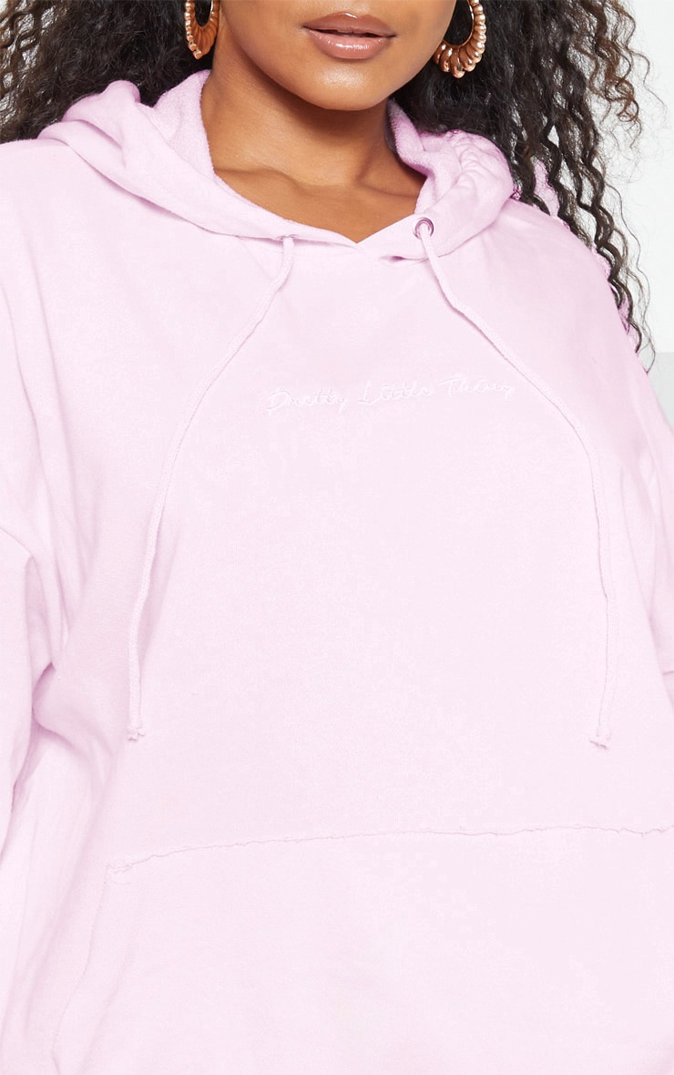 PRETTYLITTLETHING Plus Light Pink Embroidered Oversized Hoodie 6
