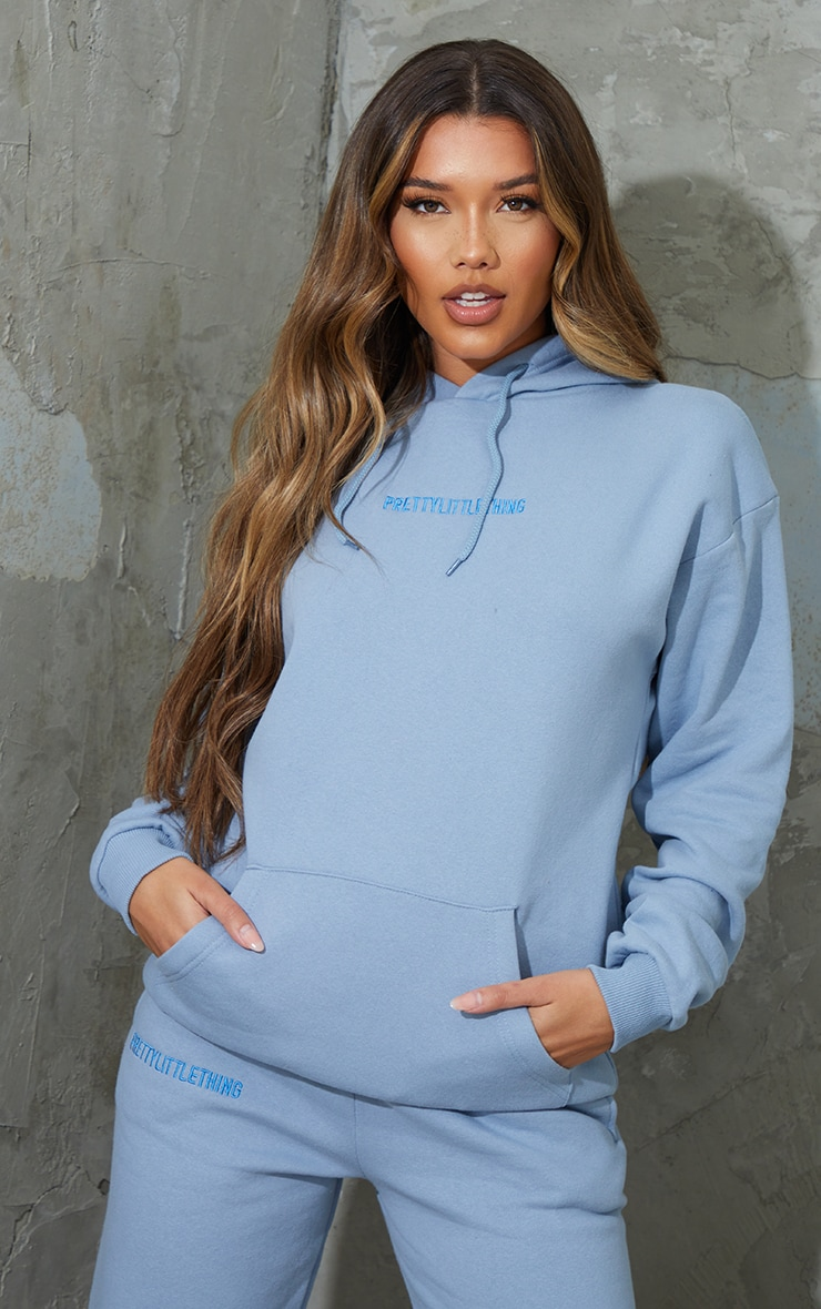 PRETTYLITTLETHING Dusty Blue Embroidered Slogan Hoodie