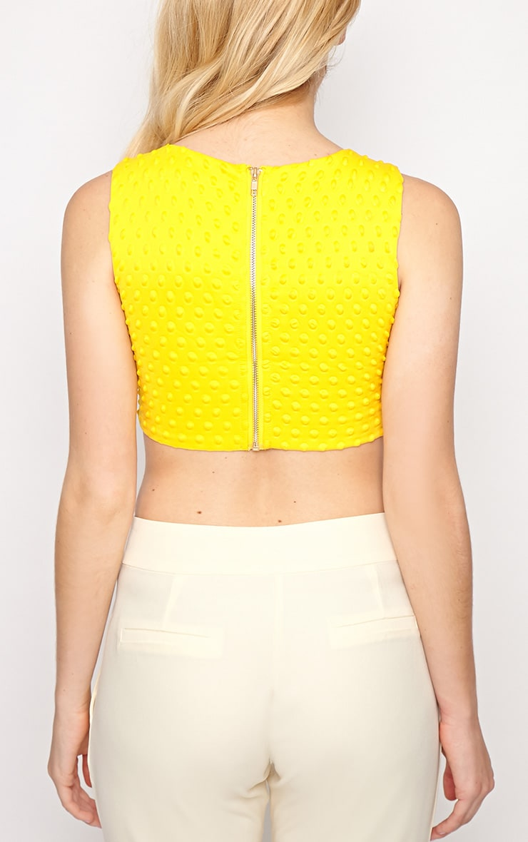 Halle Yellow Textured Polka Dot Crop Top 2