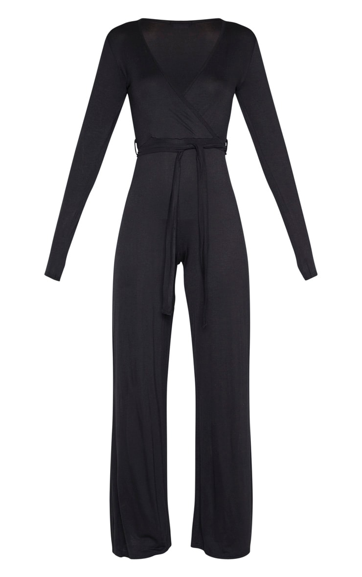 Black Tie Waist Long Sleeve Jumpsuit 3
