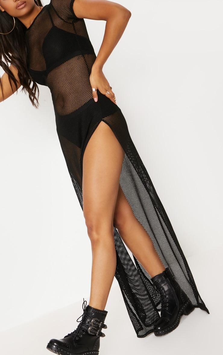 Black Fishnet Extreme Split Maxi Dress 5