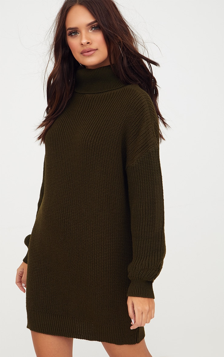 Khaki Roll Neck Jumper Dress 1