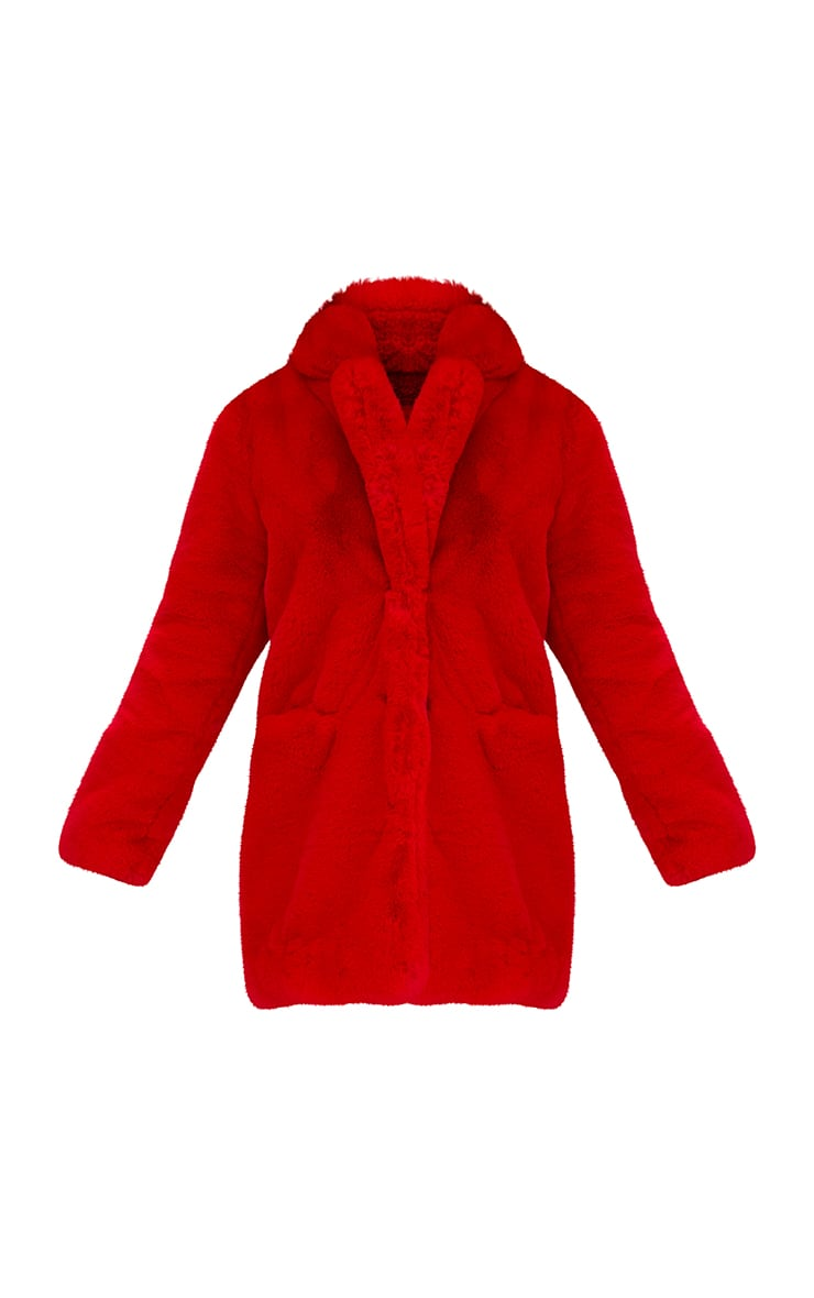 Red Premium Faux Fur Coat 3