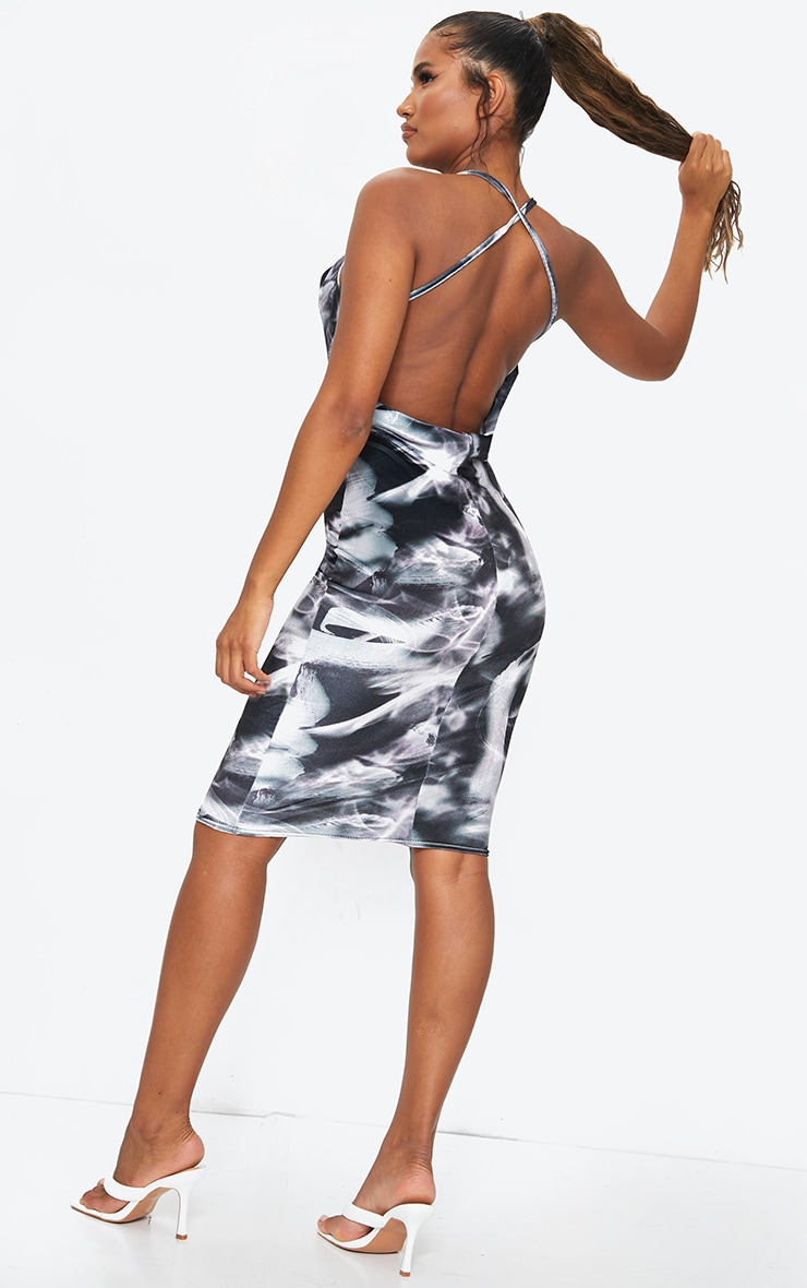 Black Tie Dye Printed Velvet Cowl Back Midi Dress 2