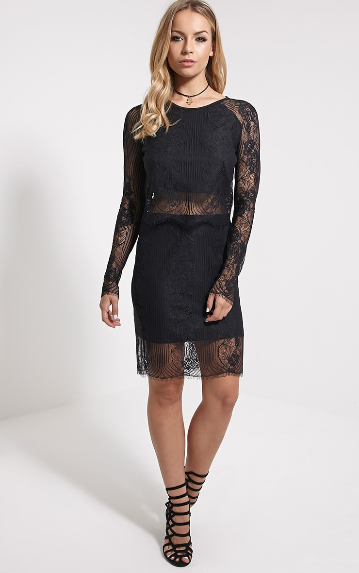 Luisa Black Lace Long Sleeve Top 3