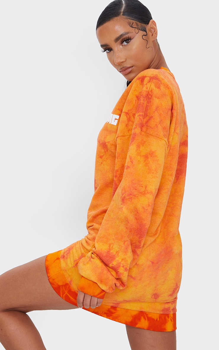 PRETTYLITTLETHING Orange Tie Dye Oversized Jumper Dress 2