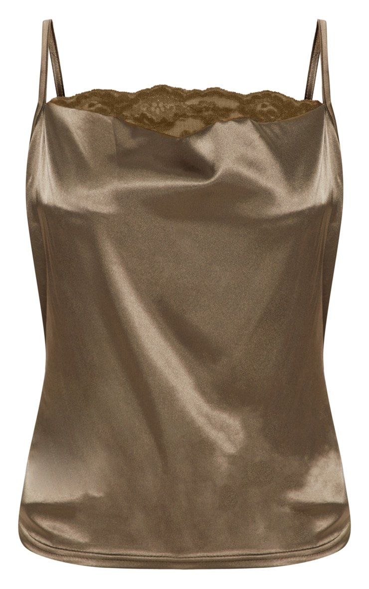 Khaki Lace Trim Cowl Satin Cami Top 3