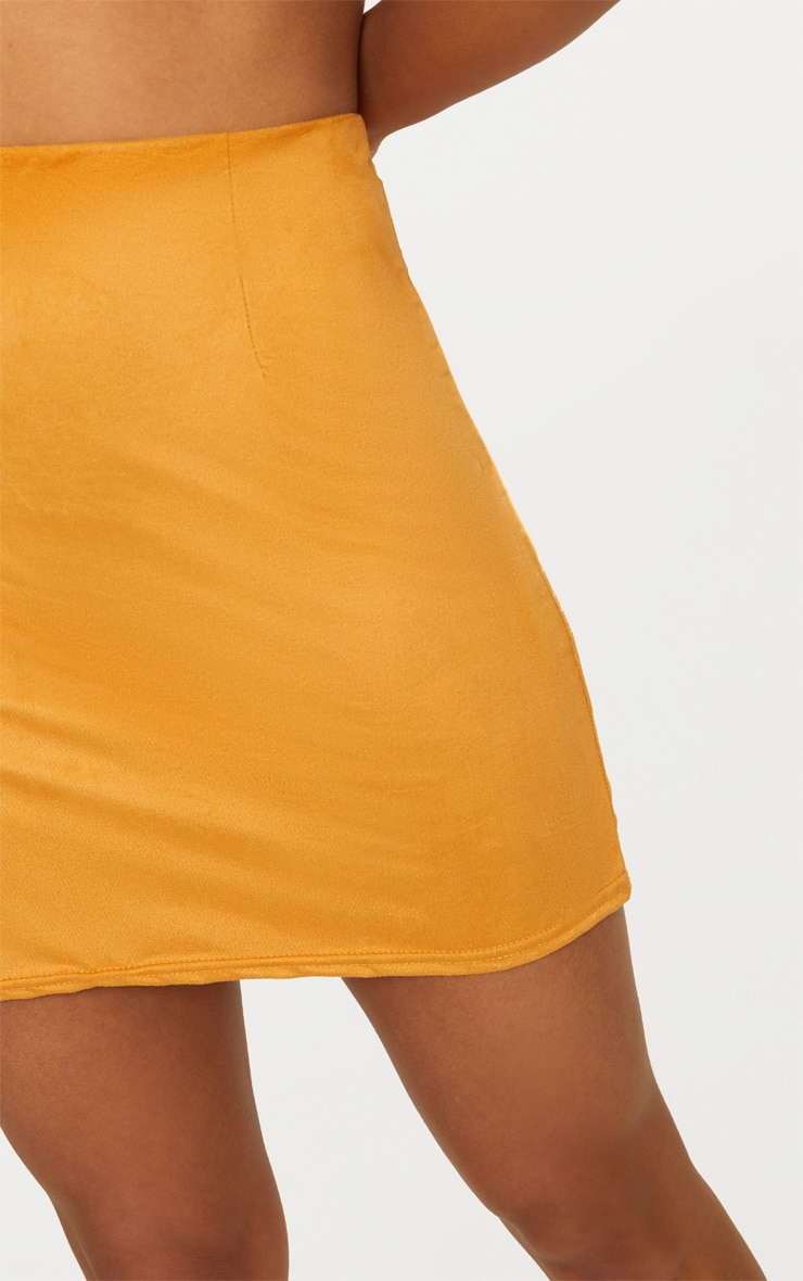 Mustard Faux Suede Mini Skirt 5