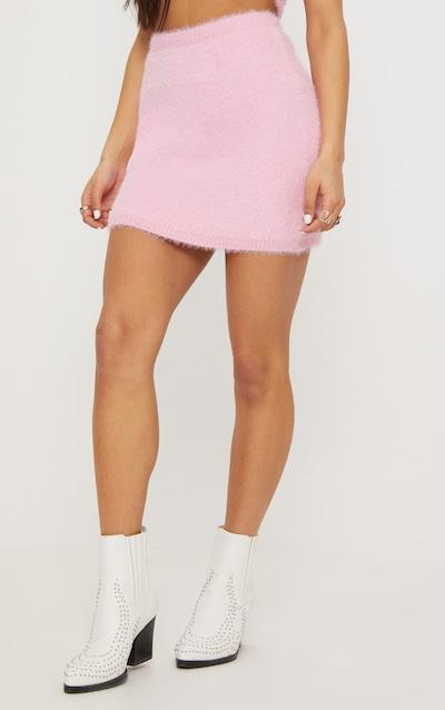 Pale Pink Eyelash Knit Skirt