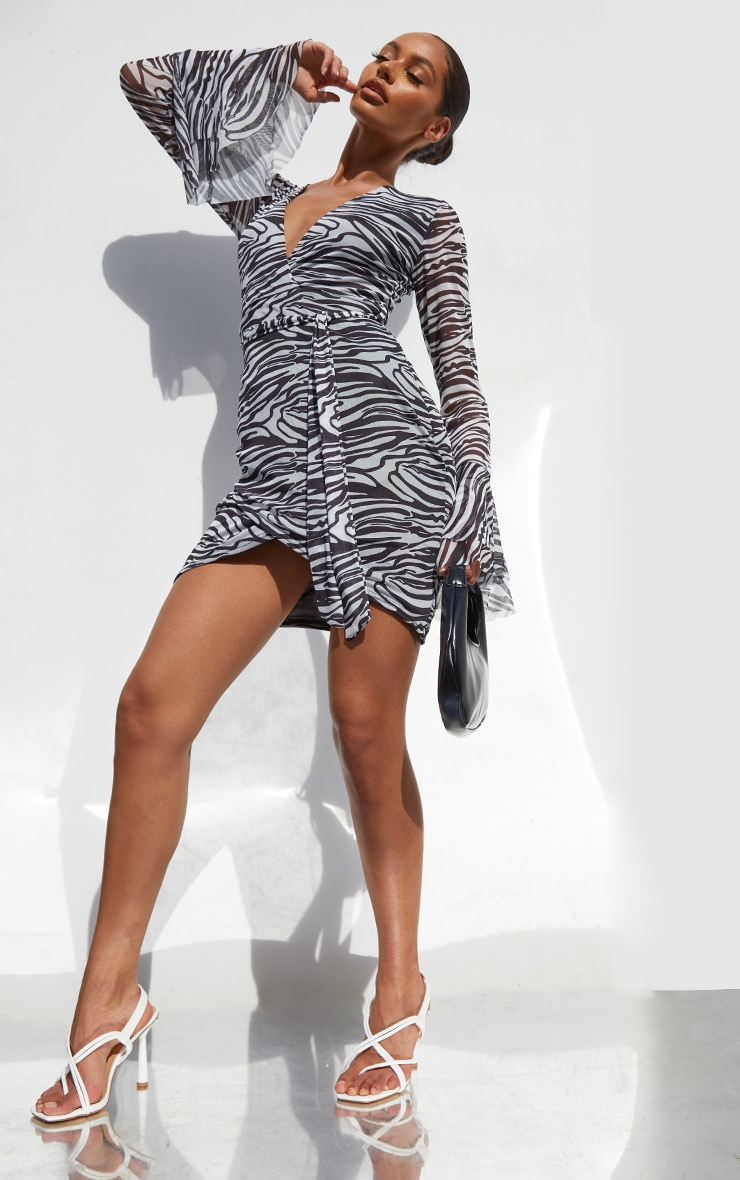 Black Zebra Print Mesh Flared Sleeve Tie Waist Bodycon Dress 3
