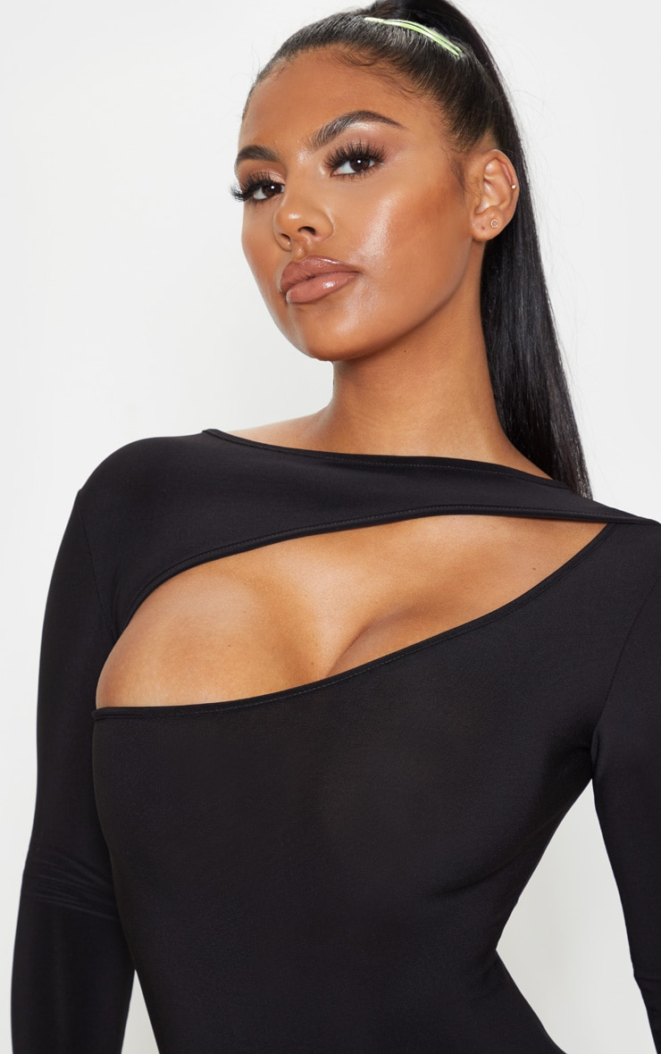 Black Slinky Long Sleeve Bodice Cut Out Bodycon Dress 5