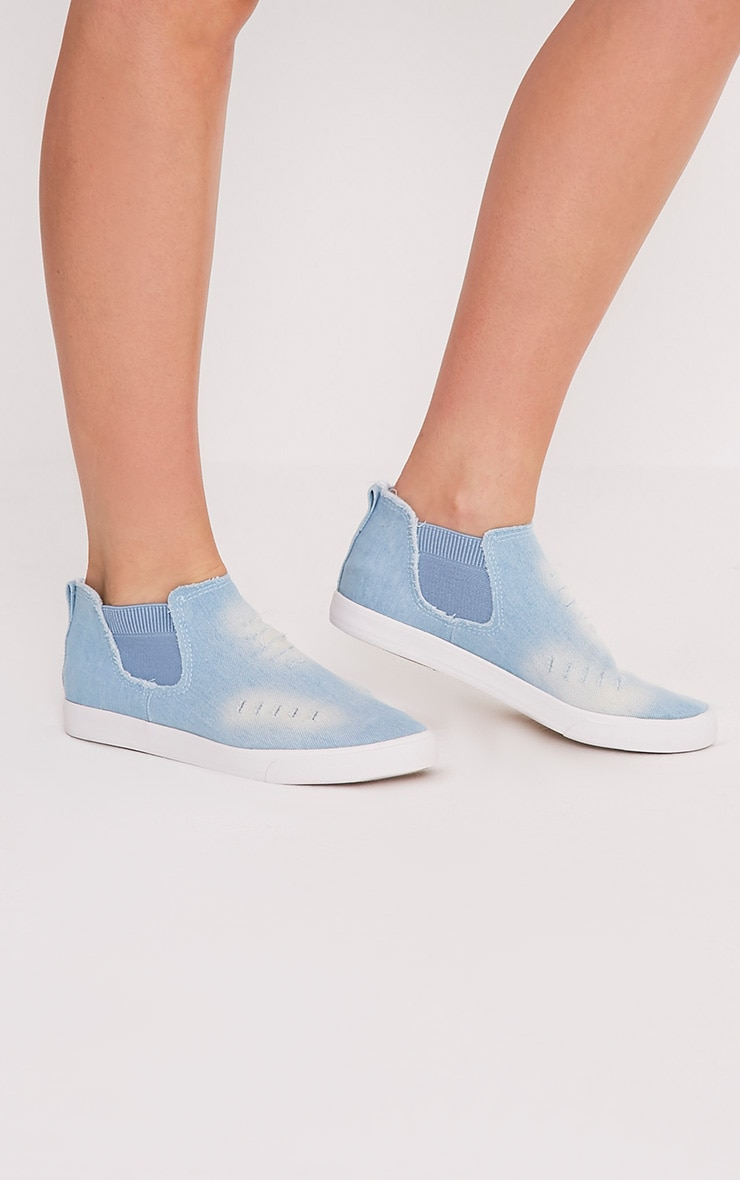 Gia Light Blue Wash Ripped Denim Slip on Trainers 1