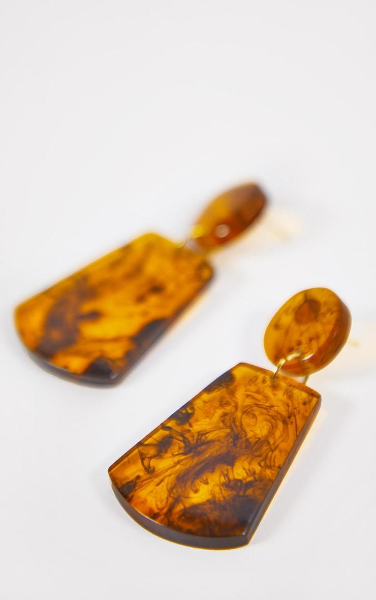 Brown Tortoise Shell Drop Earrings 2