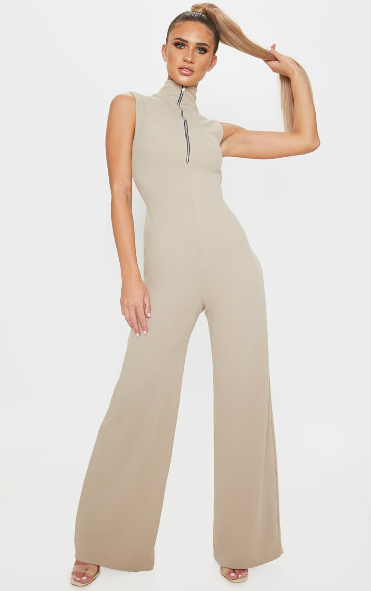 Stone High Neck Wide Leg Rib Jumpsuit 1