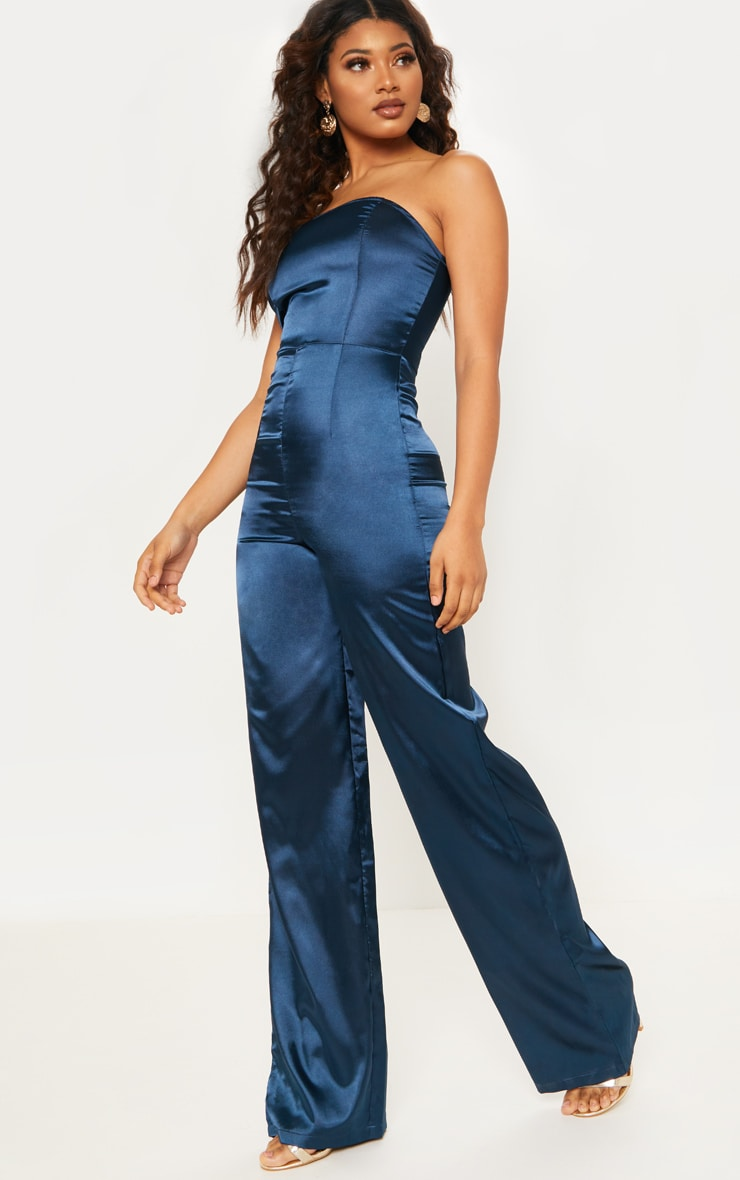 Tall Navy Satin Bandeau Jumpsuit 1