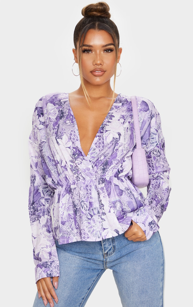 Purple Tattoo Print Woven Wrap Front Blouse 1