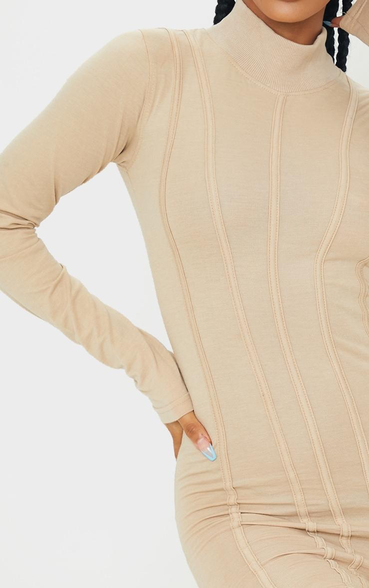 Stone High Neck Binding Detail Bodycon Dress 4
