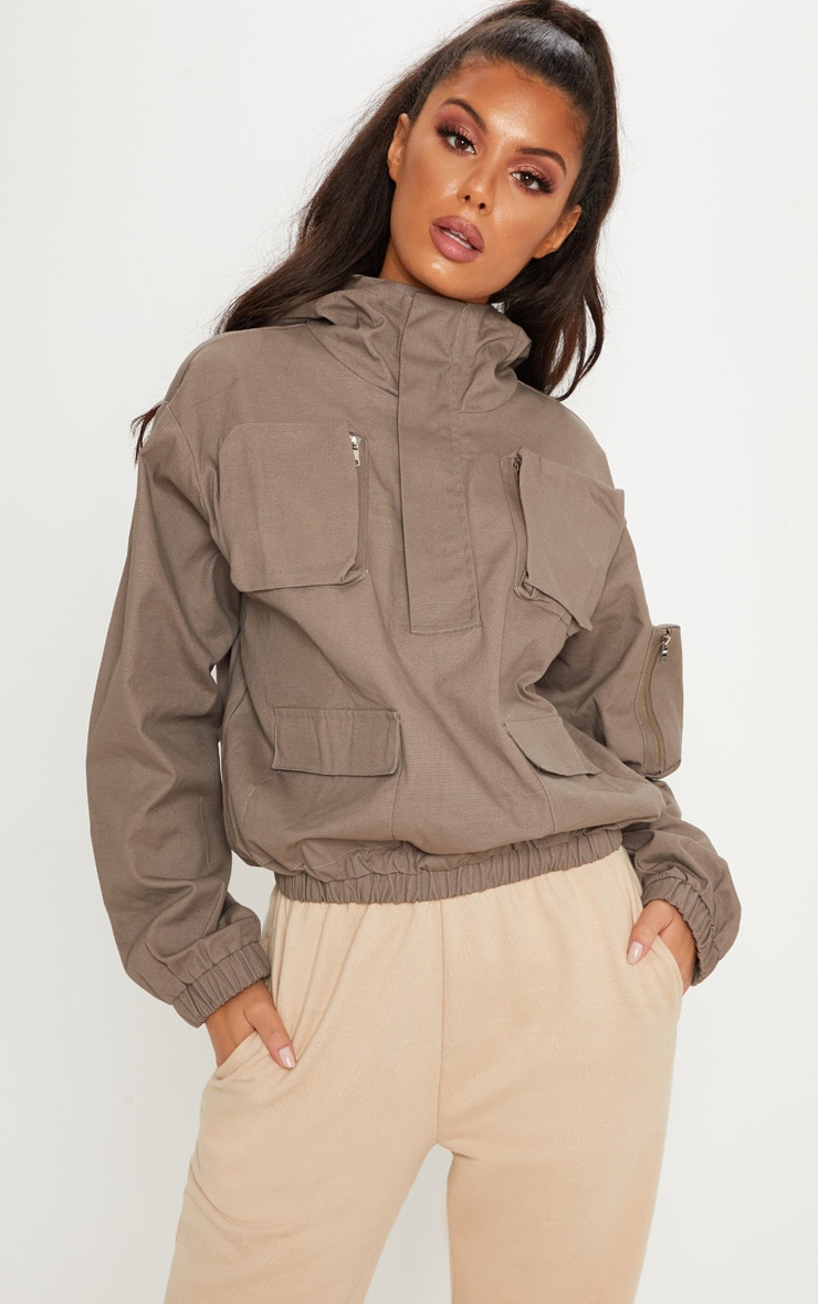 Taupe Pocket Front Cargo Hoodie 5