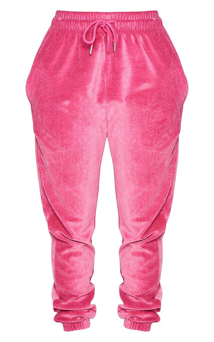 PRETTYLITTLETHING Shape Hot Pink Velour Skinny Joggers 5