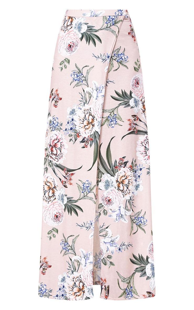 Nude Floral Wrap Maxi Skirt 3