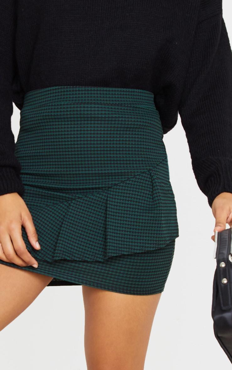 Emerald Green Jacquard Ruffle Mini Skirt 6