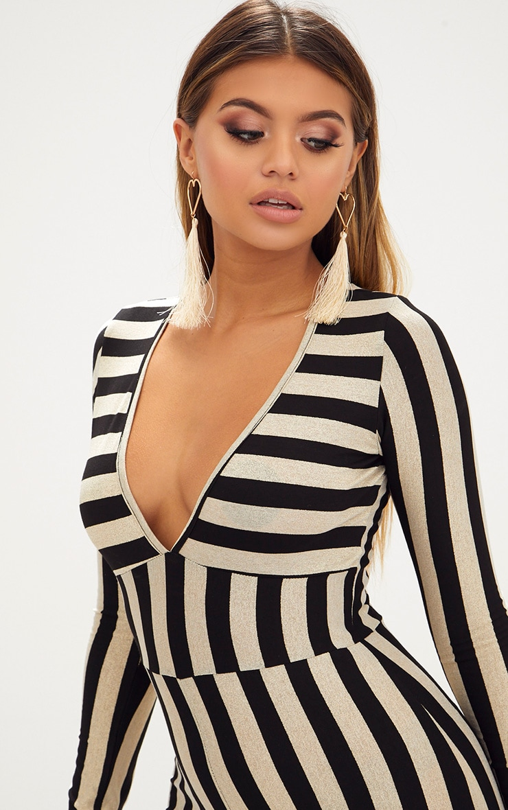 Gold Striped Long Sleeve Plunge Jumpsuit 5