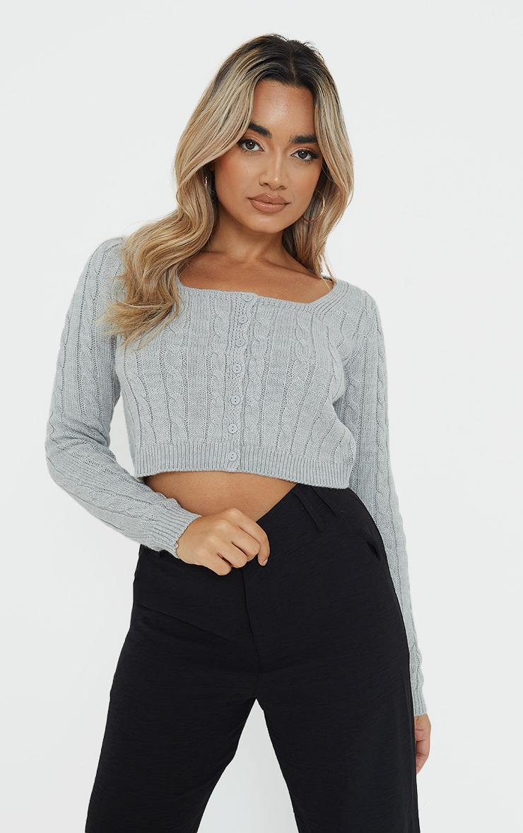Petite Grey Cable Grey Button Up Cropped Cardigan 1