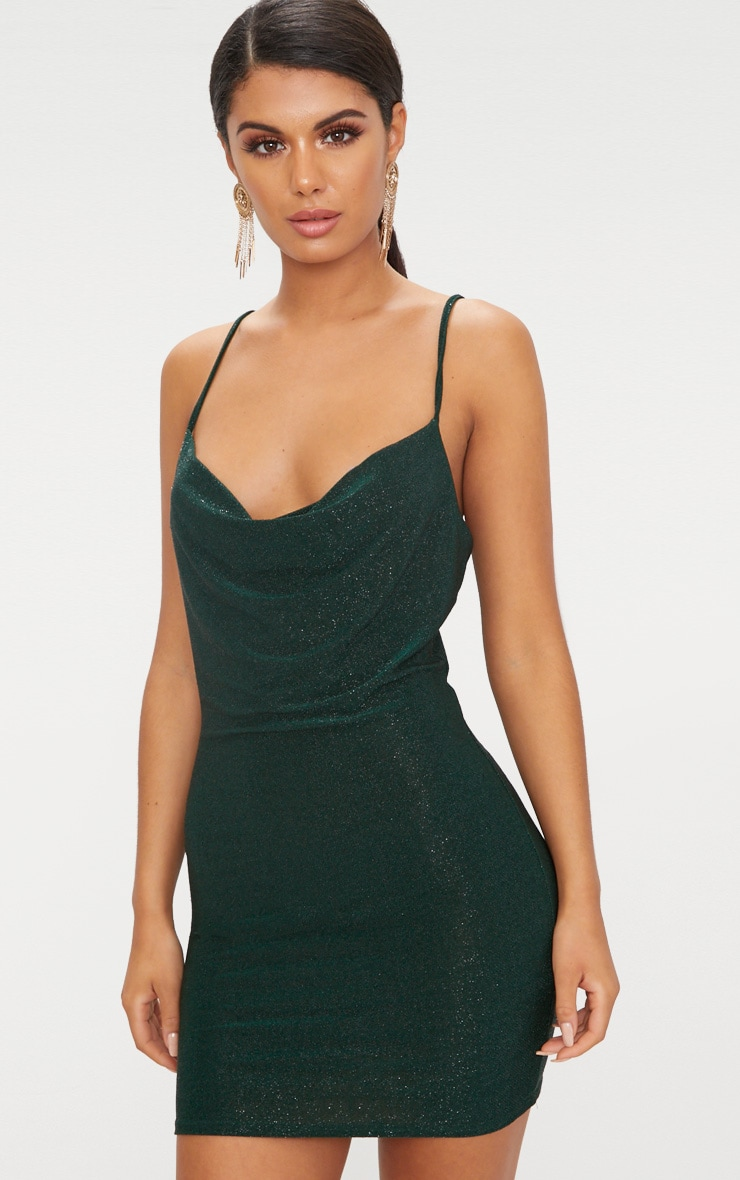 Green Glitter Cowl Neck Bodycon Dress 1