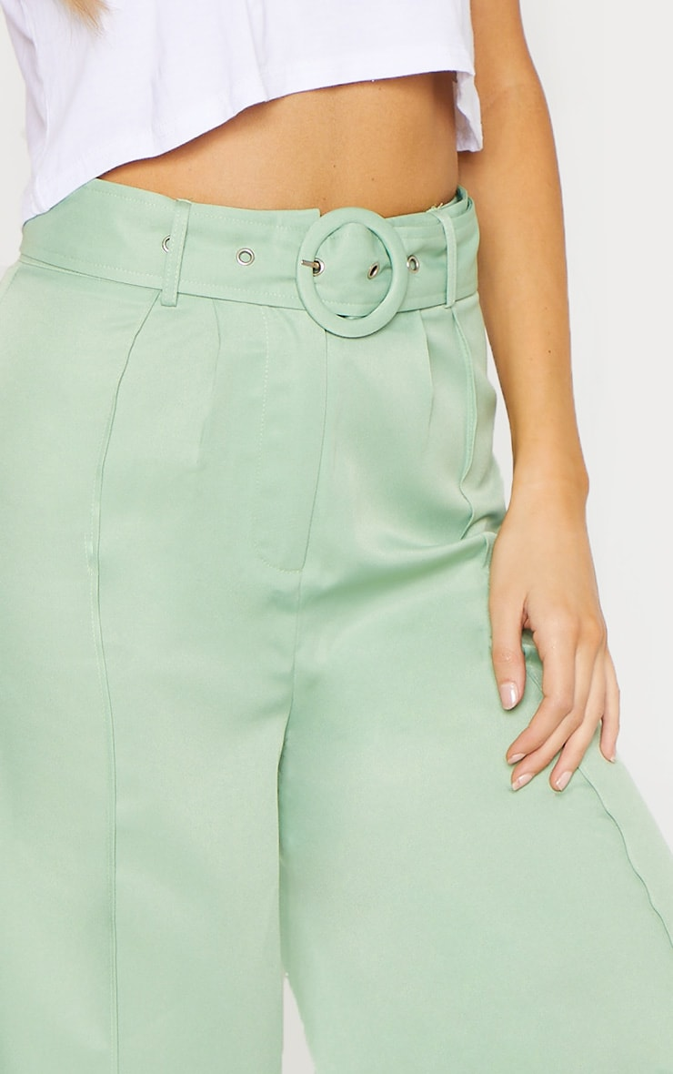 Tall Mint Circle Belt Wide Leg Culottes 5