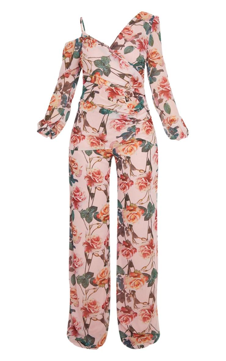 Pink Rose Print Chiffon Cut Out Jumpsuit 3