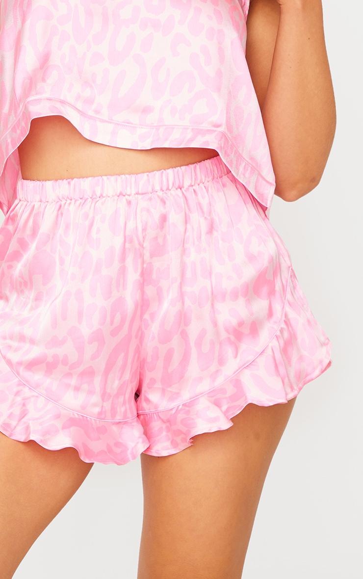 Bright Pink Leopard Print Satin Cami Short PJ Set 4
