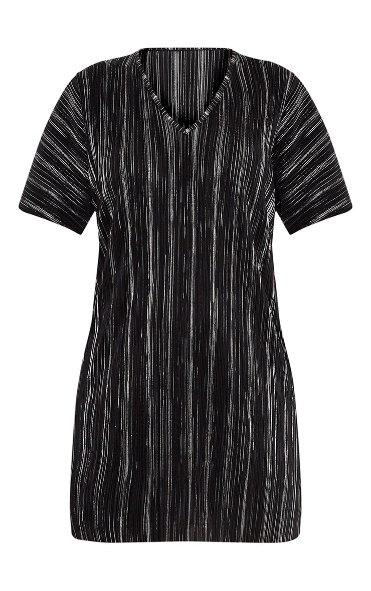 Fione Black Metallic Pleated T-Shirt Dress 3