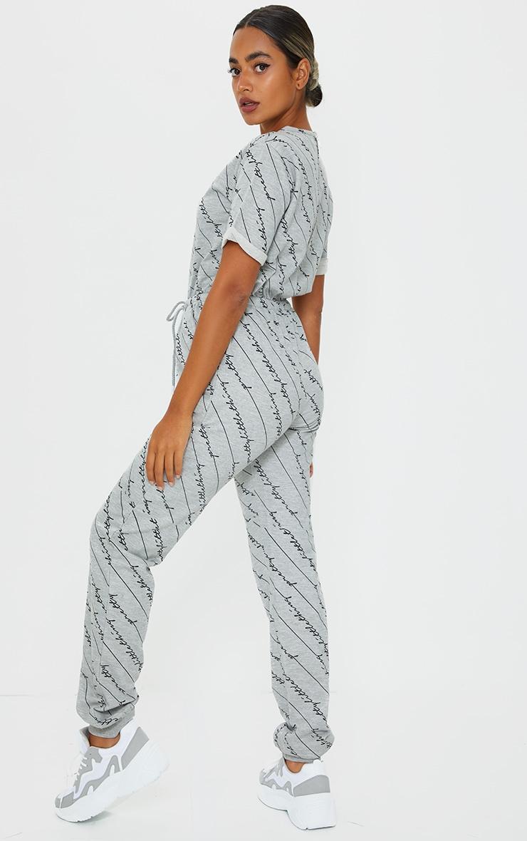 PRETTYLITTLETHING Petite Grey Short Sleeve Sweat Jumpsuit 2