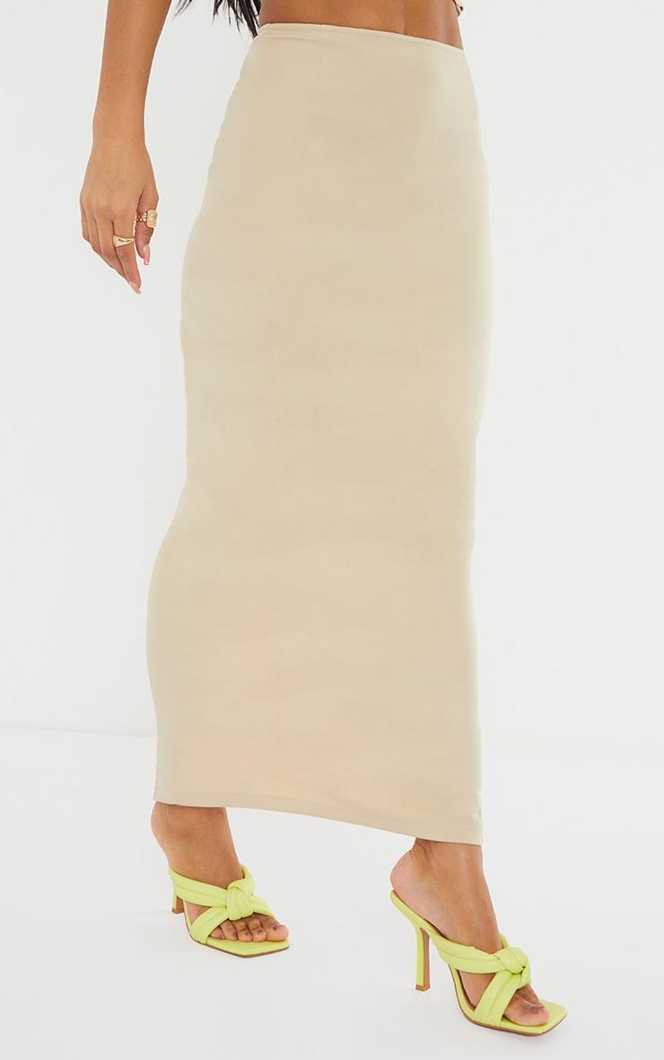 Stone Woven Split Back Maxi Skirt 2