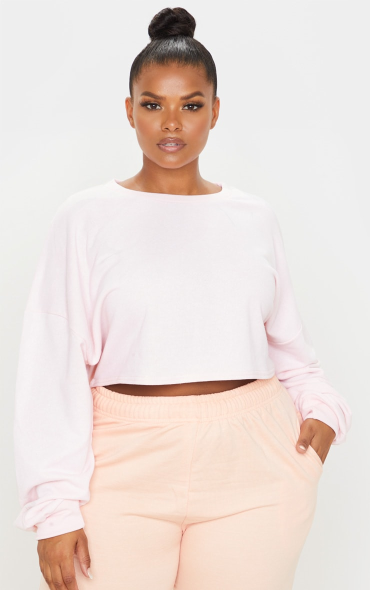 Plus Blush Crop Sweater 1