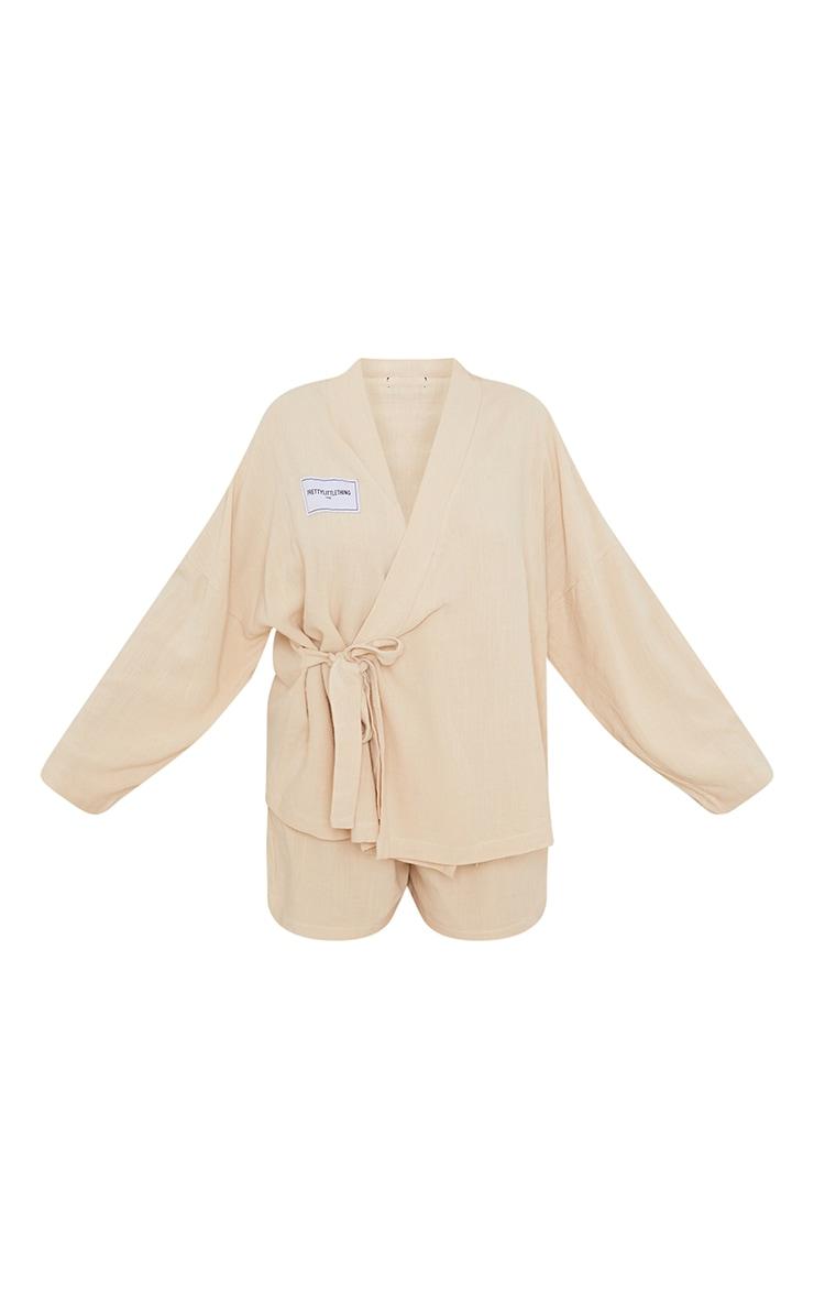 PRETTYLITTLETHING Home Stone Kimono Wrap Over Short Lounge Set 5