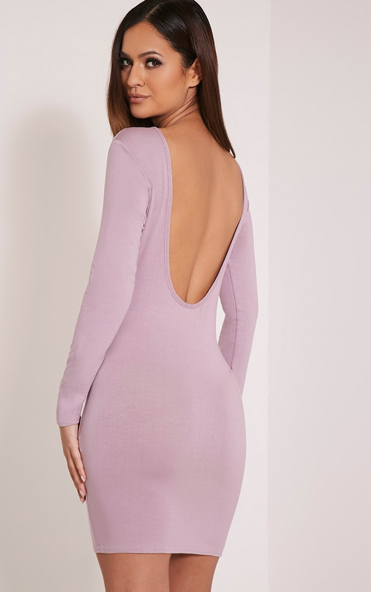 Basic Mauve Scoop Back Bodycon Dress 1