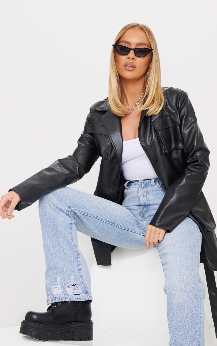 Black PU Longline Pocket Front Jacket 1