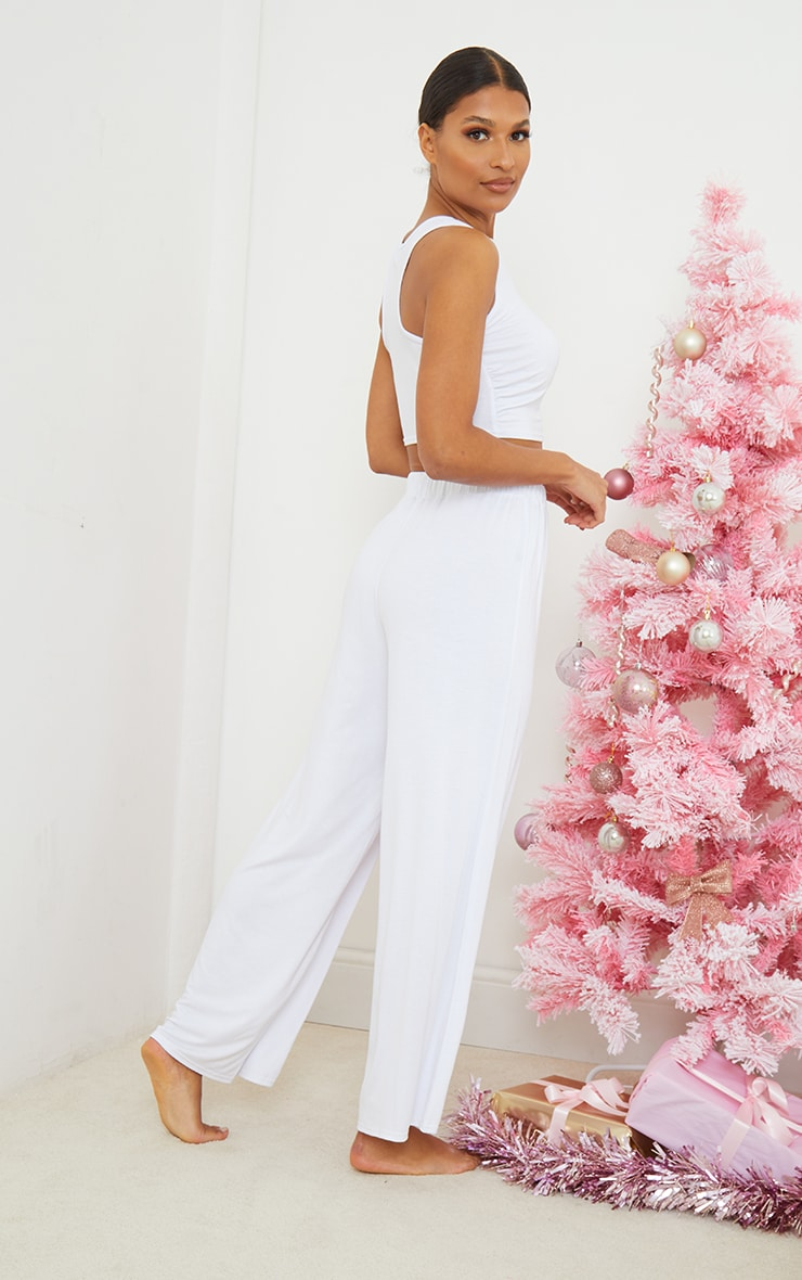 White Ruched Crop Top And Wide Leg Trousers PJ Set 2