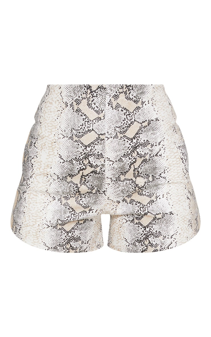 Taupe Faux Leather Snake Skin Short 3