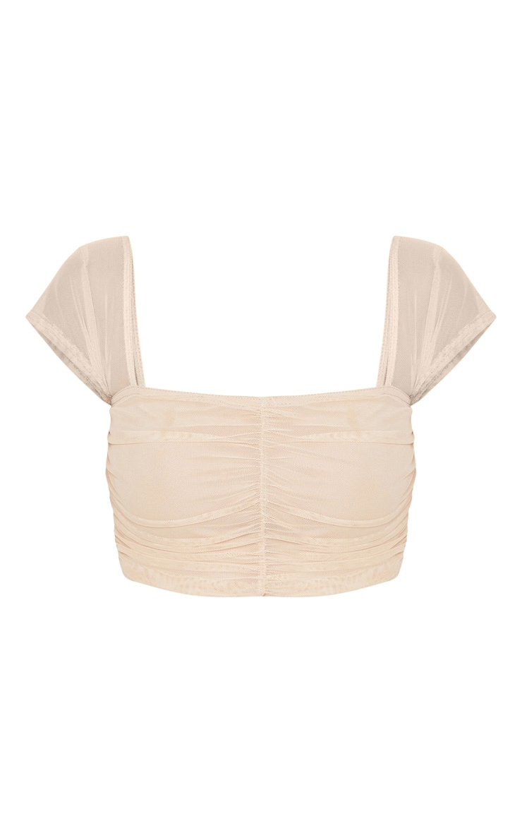 Nude Mesh Ruched Front Crop Top 3