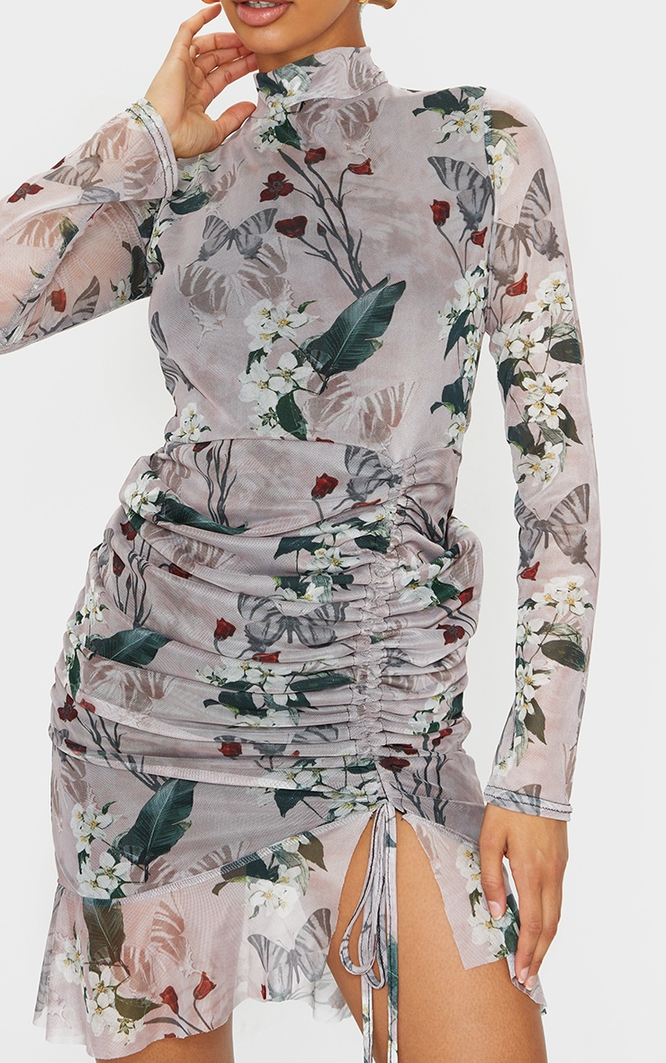 Nude Floral Print High Neck Long Sleeve Mesh Ruched Midi Dress 4