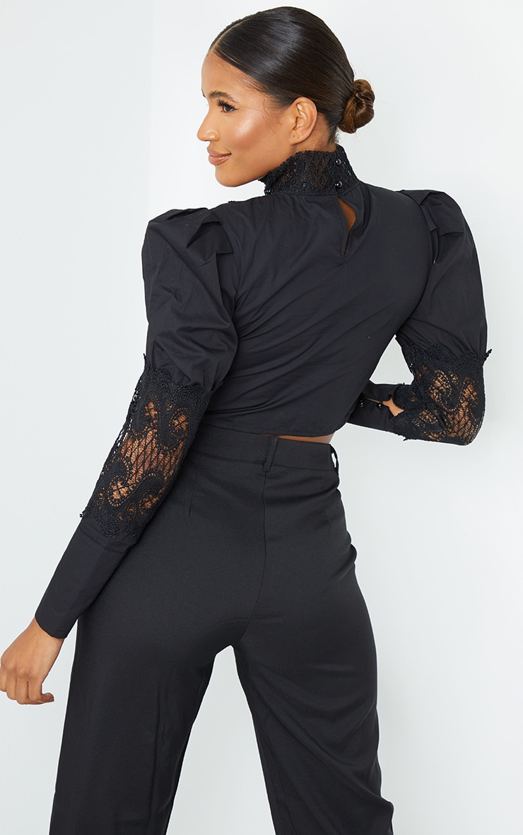 Black Woven Lace Panel Puff Sleeve Cropped Blouse 2