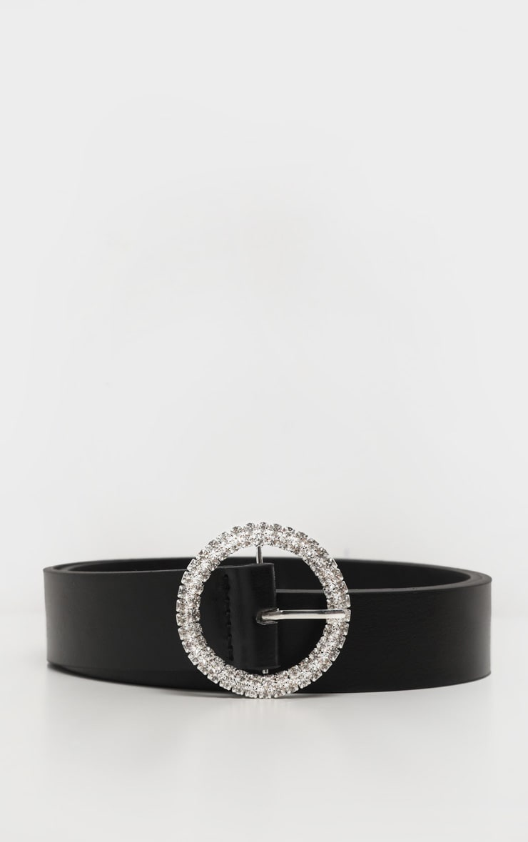 Black Diamante Circle Basic Belt 3