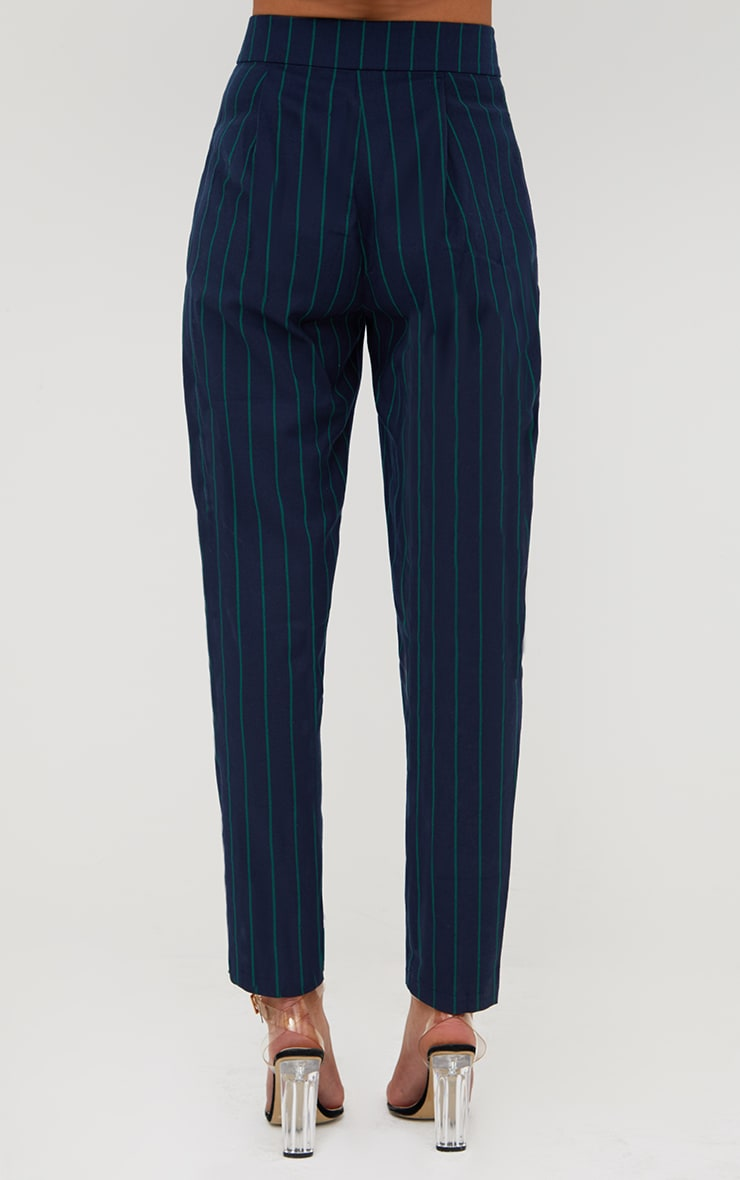 Navy Pinstripe Tailored Trousers 4