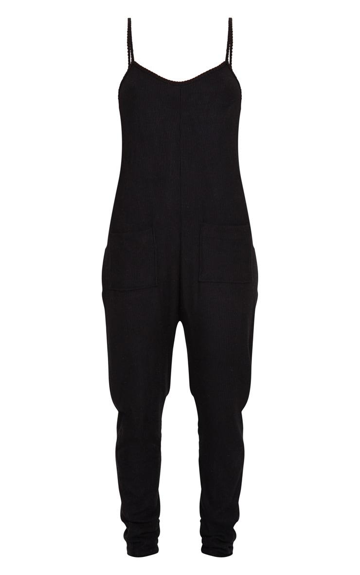 Black Brushed Rib Strappy Pocket Jumpsuit 5