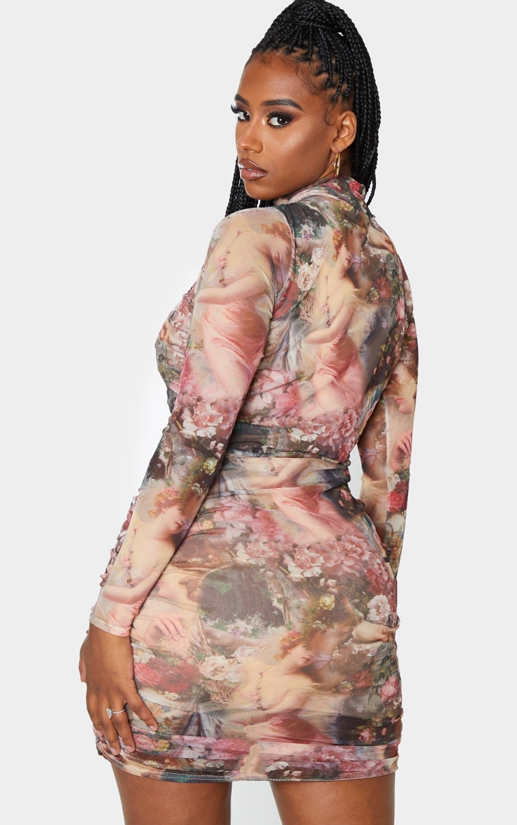 Shape Nude Renaissance Printed Long Sleeved Bodycon Dress 2