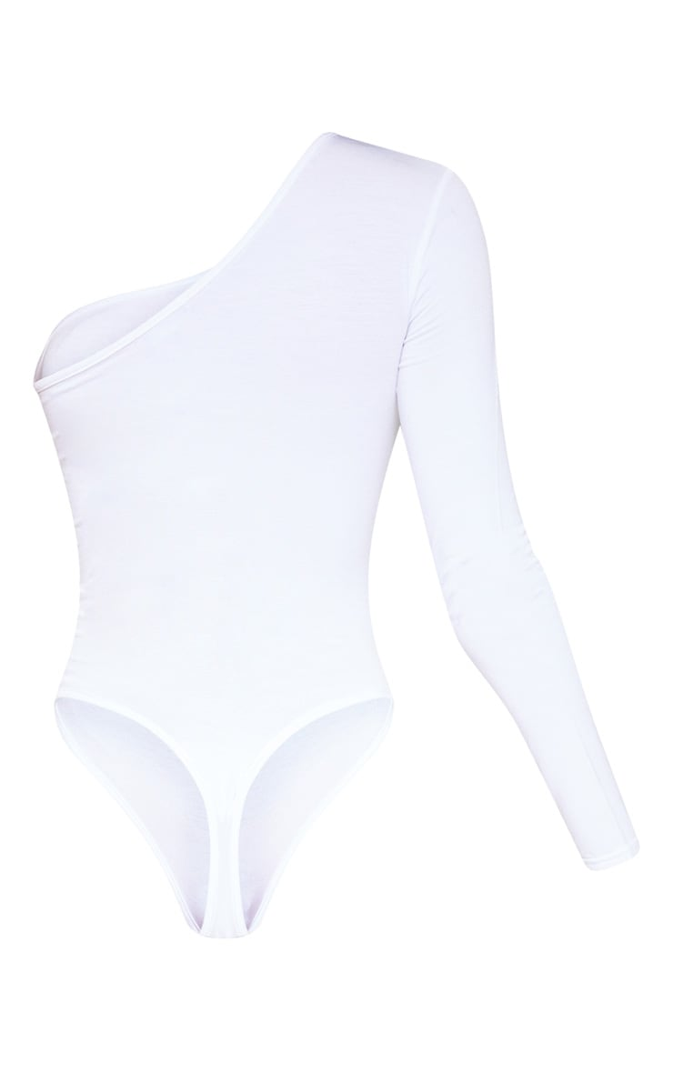 White One Shoulder Jersey Long Sleeve Bodysuit 4