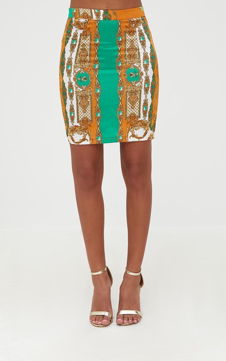 Petite Orange Scarf Print  Skirt Co-ord 2